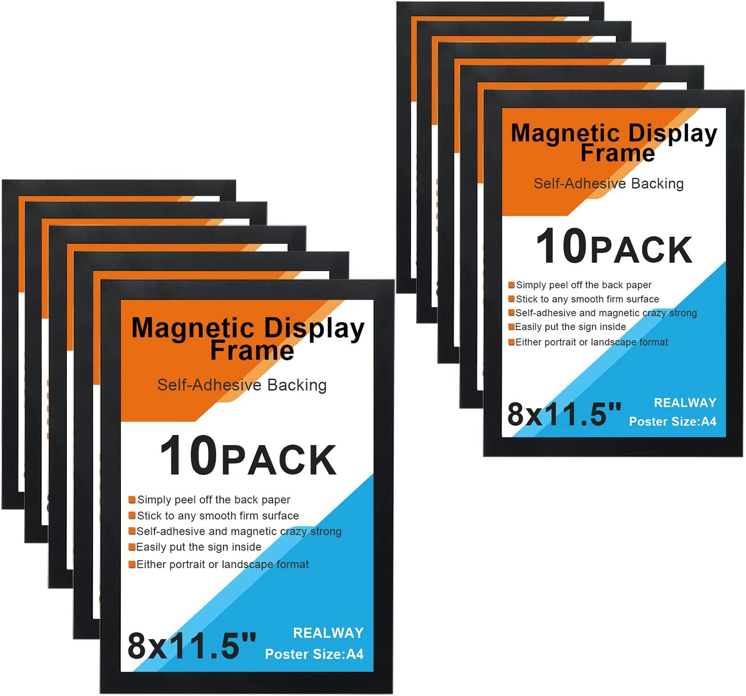 REALWAY 8X11.5 Self-Adhesive Magnetic Display Frame Magnetic Double Sided Window Sign Holder for Office//Door//Glass//Schedule//Refrigerator Display Frame Black, 6Pack