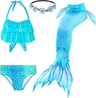 Fishkidtail pcs Traje de Baño de Cuello Hálter con Cola de Sirena Bikini Set para Niña4