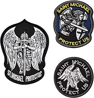 FaithHeart [3 Packs] Saint Michael Modern Morale Patch, Embroidered Military Tactical Emblem Army Morale Hook & Loop Patc...