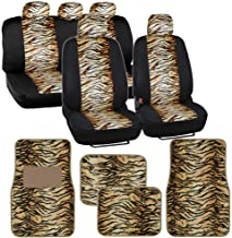 Two Tone Beige Tiger Seat Covers Floor Mats for Car Truck SUV Auto Accessories