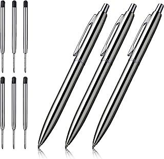 قلم Ballpoint ، CHAOQ 3 عدد قلم فلزی جمع شده از جنس استنلس استیل ضد زنگ برای دفتر کار کریسمس ، جوهر سیاه و سفید 1.0 میلی متر ، با 6 بارگیری مجدد اضافی