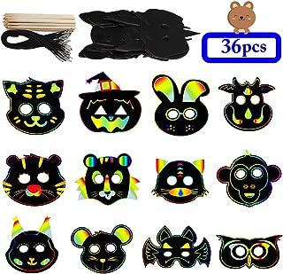 DIY Masks, Outgeek 36PCS Animal Scratch Paper Masks DIY Magic Scratch Masks for Kids Art Rainbow Scratch Face Paper Dress Up Costume Birthday Party Favors Halloween Cosplay Masks Plus Elastic Cords Ba