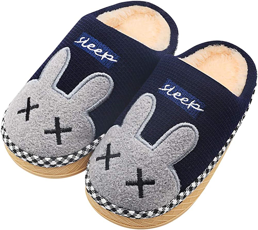Boys Girls Slippers Kids Cute House Shipping included Animal Wa Lined Los Angeles Mall Fur