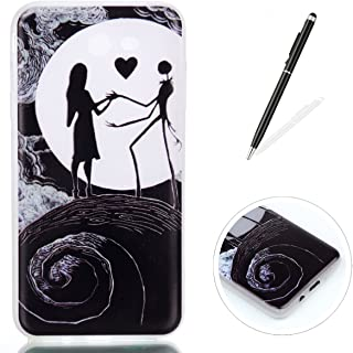 KaseHom Case Compatible for Samsung Galaxy J7 2017 Silicone Gel Case Luminous Effect Green Glow in The Dark Clear Soft Ultra Slim TPU Protective Case Cover,Nightmare Before Christmas