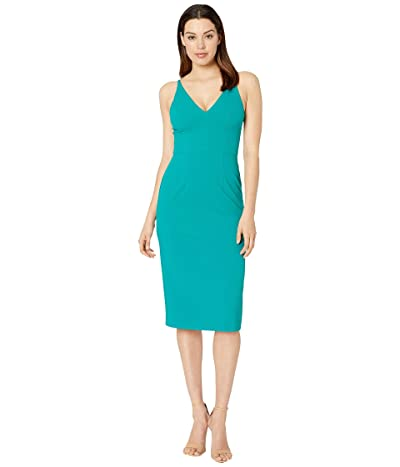 Donna Morgan Deep V-Neck Crepe Sheath Dress (Fresh Teal) Women