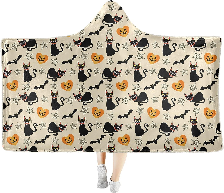 Halloween Ranking TOP2 Cat shopping Bat Skull Wearable Hooded Throw Soft Blanket Cozy