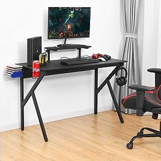 Costway Bureau Gaming pour PC, Surface en Fibre de Carbone PVC, Etagère Surélevée Réglable, Jambe en Forme K, Supporte Jus...