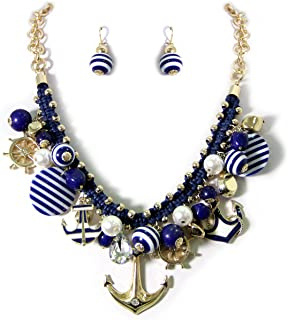 Chunky Nautical Anchor Helm Sea Charm Necklace Earring Set Fashion Jewelry(Cleaning Cloth Included)
