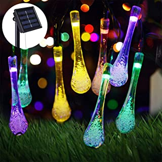 Multi Color Solar String Lights 20 FT 30 LED Lights 8 Modes Control Water Drop Solar Fairy Waterproof Lights for Garden Patio Yard Home Parties Solar Powered Christmas Raindrop Decoration Light