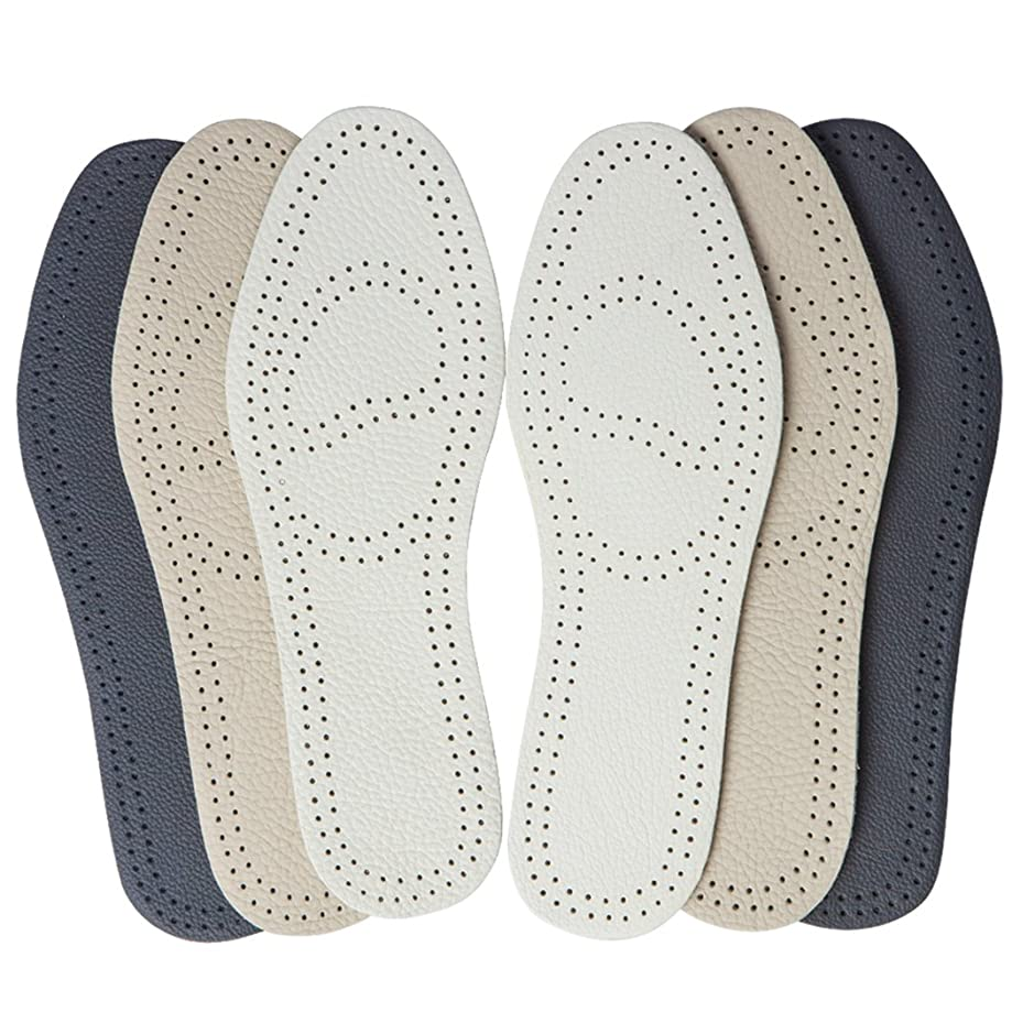 Bellcon Leather Insole for Men Full Length Shoe Pads with Odor Control Thin Leather Shoe Inserts for Unisex Adults (3 Pairs/Mens US 12-12.5)