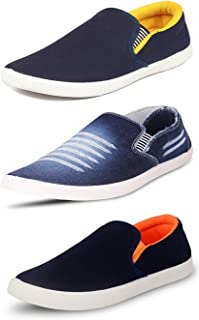 Chevit Men's Combo Pack of 3 Denim Loafers & Moccassins (Casual Shoes)