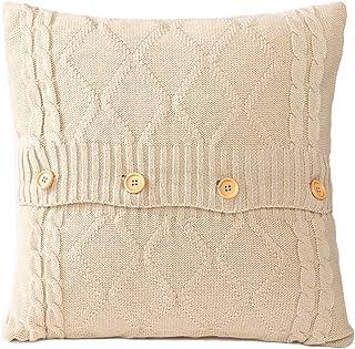 GUOYIHUA Funda de almohada de punto con botón, funda de cojín de punto cuadrada, linda manta decorativa y cálida, fundas de almohada de 45 cm x 45 cm, Fibras acrílicas, #06, 45*45cm