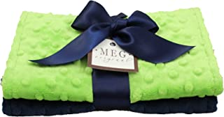 MEG Original Navy Blue & Lime Green Baby Burp Cloth Feeding Set