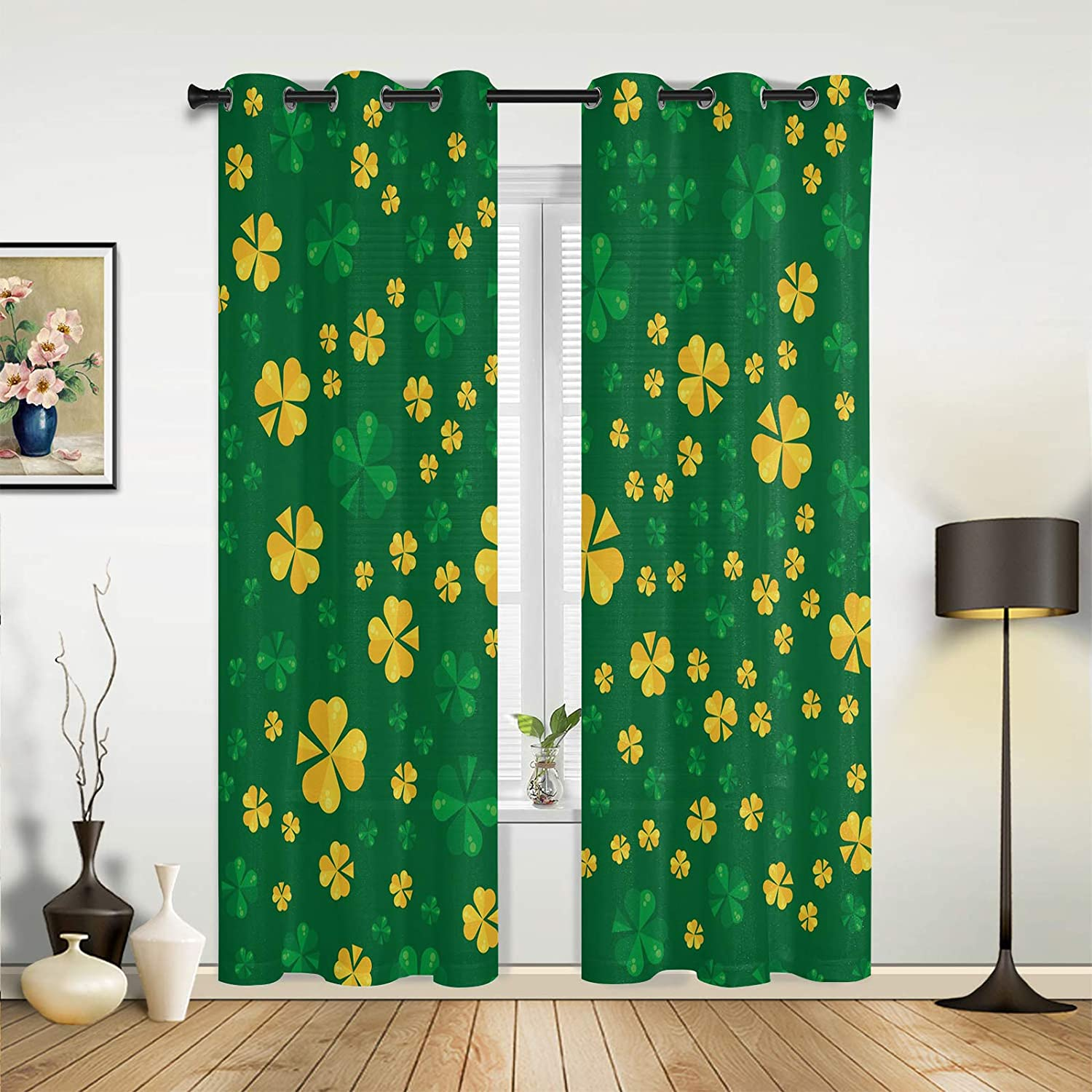 Window Curtains supreme Drapes Panels Happy Seasonal Wrap Introduction St. Patrick's Lucky Day Gree