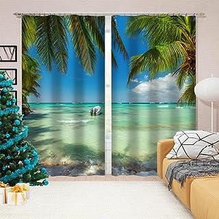 3D高品质印刷 窗帘 隔热 卧室 客厅用 防紫外线 保温 窗帘套装 悬垂窗帘 时尚 高级感的面料 客厅 节能 提高冷暖气效率-ビーチ 220*214cm
