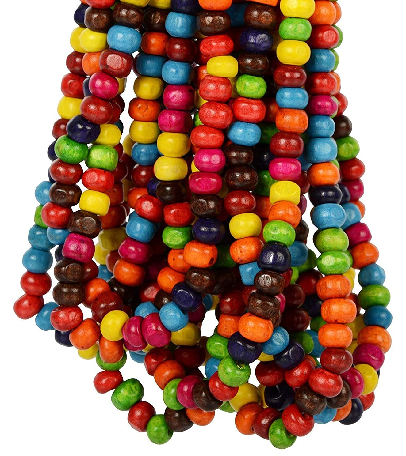 Goelx Round Wooden Beads Bunch(20 Mala) Multi Color 6 mm for Jewellery Making, Beading & Art Craft Work - Approx. 1300 Beads !!