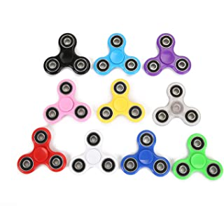SCIONE Fidget Spinner Bulk 10 Pack Tri-Spinner Office Desk Classroom ADHD Anti Anxiety Focus Finger Fidit Spinners Stress Relief Toys for Adults Kids Party Favors