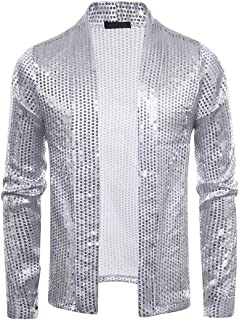 Mens Shiny Sequins Cardigan Nightclub Styles Open Front Jacket Stylish Retro Disco Long Sleeves Shirt Top Party Wedding Ni...