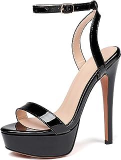 Mettesally Donna Cinturino Alla Caviglia Stiletto Open Toe Platform Scarpe Fibbia Tacchi Alti Da Festa