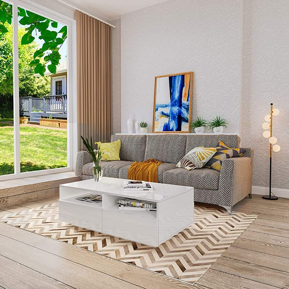 mit offenem Sofa-Tisch,White Moderne M/öbel f/ür das Wohnzimmer Couchtisch beleuchtet 4 Schubladen minimalistischen Stil