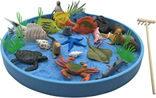 The Sea World Sandbox, a New Generation of Executive Mini Zen Garden Set, The Ocean Sea Life at Your Desktop, Perfect Relaxation and Meditation Gift, Play Sand Box Toy for Kids, Boys and Girls