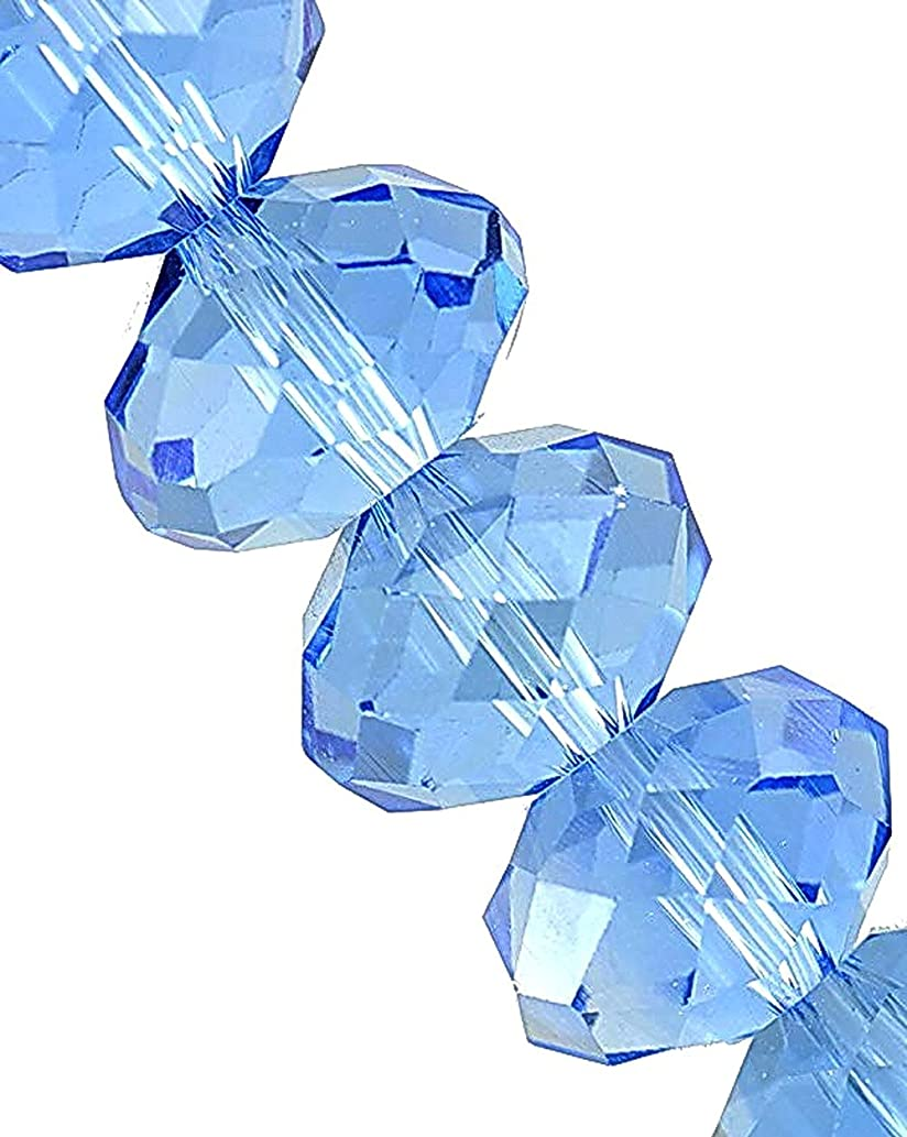 Linpeng 440pcs 4x6mm Faceted Rondelle Crystal Beads for for Jewelry Making, Blue Topaz