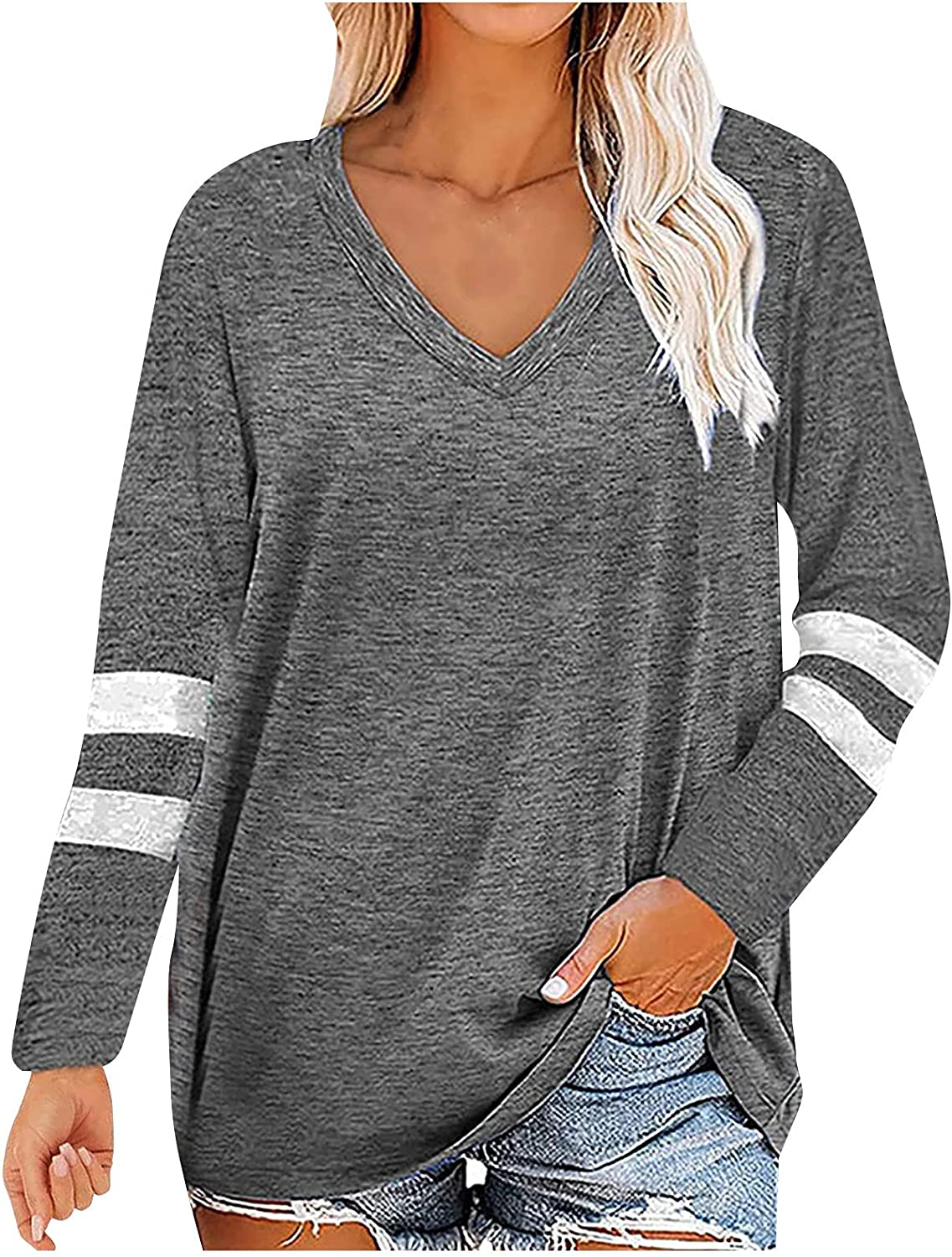 Womens Tops and Blouses Challenge the lowest Brand new price of Japan Long Sleeve Solid Neck Casual T Loose V