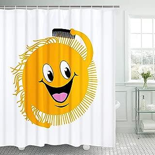 Yellow Smile Face Shower Curtain Cartoon Sun Bathroom Curtain Durable Waterproof with Hooks