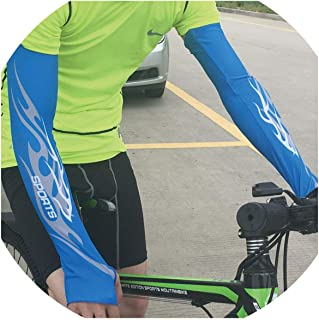1 Pair Lengthen Cycling Arm Sleeves Sunscreen Protection Quick Drying Basketball Running Compression Arm Warmers Protectors,Blue,L