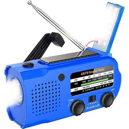 Lukasa 5000mAh Emergency Hand Crank Portable AM/FM/NOAA Weather Radio, Rechargeable Solar Radio with LED Flashlight, Phone Charger, Reading Lamp,SOS Alarm(Blue)