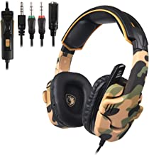 SADES SA930 Stereo Gaming Headset for PS4 New Xbox One Noise Cancelling Over Ear Headphone wit Mic Soft Memory Earmuffs for PC Mac Laptop Mobile Phone-Camouflage