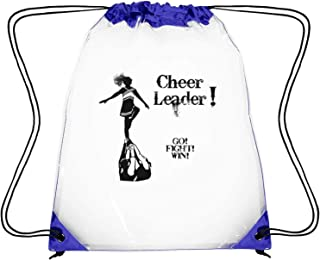 WAQKQK Gymnastics Cheer Pyramid go Fight Win Gym Bag Drawstring Waterproof Sports Sackpack PVC Plastic