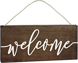 ALBEN Hanging Wooden Welcome Sign – Reversible Message Home or Welcome –..
