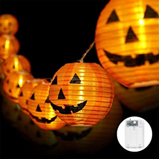 Whishine Halloween Pumpkin String Lights, 20 LED Pumpkin Lights Battery Powered Jack-O-Lantern Halloween Light Decorations...