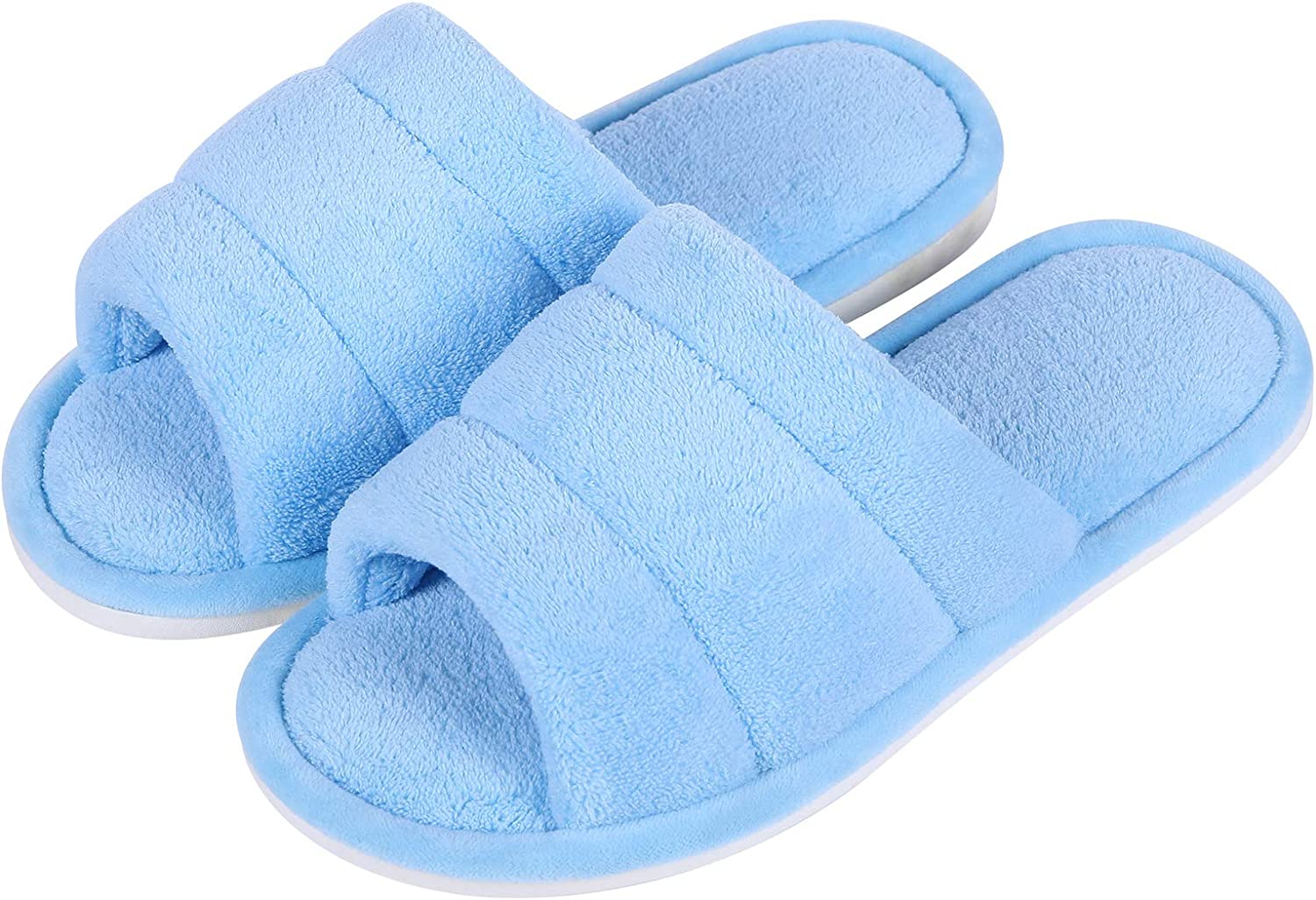 shevalues Terry Cloth Open Toe Max 54% OFF Slippers Women Some reservation Foam Memory Si for