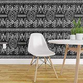 Spoonflower Peel and Stick Removable Wallpaper, Tribal Mudcloth Moroccan Trendy Black Monochrome Look Print, Self-Adhesive Wallpaper 24in x 36in Roll