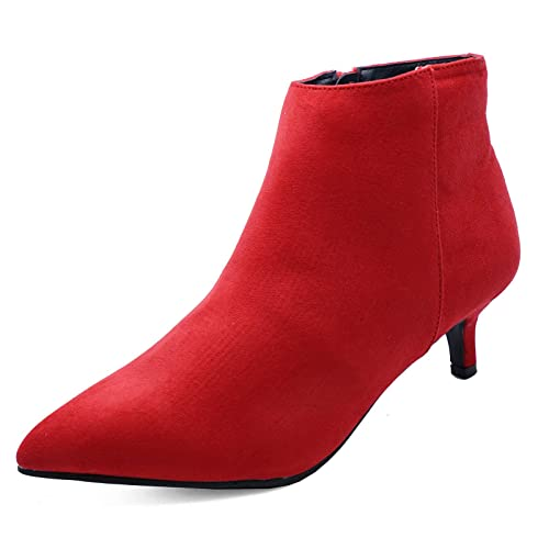 06df6d987c38 Ladies Red Zip-Up Wide-Fit Kitten Low Heel Faux Suede Ankle Boots Work