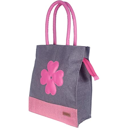 Foonty Exclusive Sunflower Daily Use Jute Lunch Bag (Grey, FFFWB6015A)