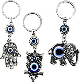 Erbulus Turkish Blue Evil Eye Keychain Amulet - Hamsa Hand of Fatima - Elephant and Owl - Gift for Men or Women (Set of 3)