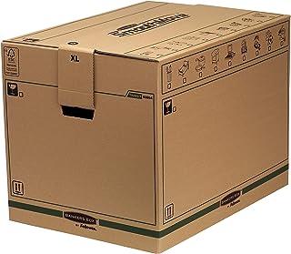 BANKERS BOX SmoothMove Cajas de transporte y mudanza súper resistentes, doble espesor, con asas, no necesita cinta de embalar, montaje automático FastFold, 127 litros, 45.5 x 60.5 x 45.5 cm, pack de 5