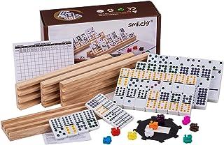 Smilejoy Mexican Train Dominoes,Domino Set with 4 Wooden Racks Double 12 Domino Game Racks Set Includes (91) Tile Jumbo Do...