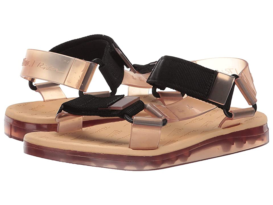 + Melissa Luxury Shoes Rider + Papete Flat Sandal (Beige/Black) Women