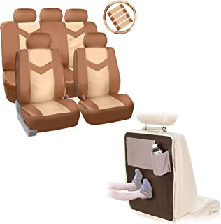 FH Group Final Sale PU021115 Synthetic Leather Full Set Auto Seat Covers w. Steering Wheel Cover & Seat Belt Pads w, Beige Tan Color - Fit Most Car, Truck, SUV, or Van