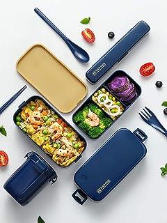 LFDHSF Food Bento Net Red Los Trabajadores de Oficina Pueden ser calentados por microondas Aislamiento Lindo Separado de ensaladas Fiambreras de plástico Azul