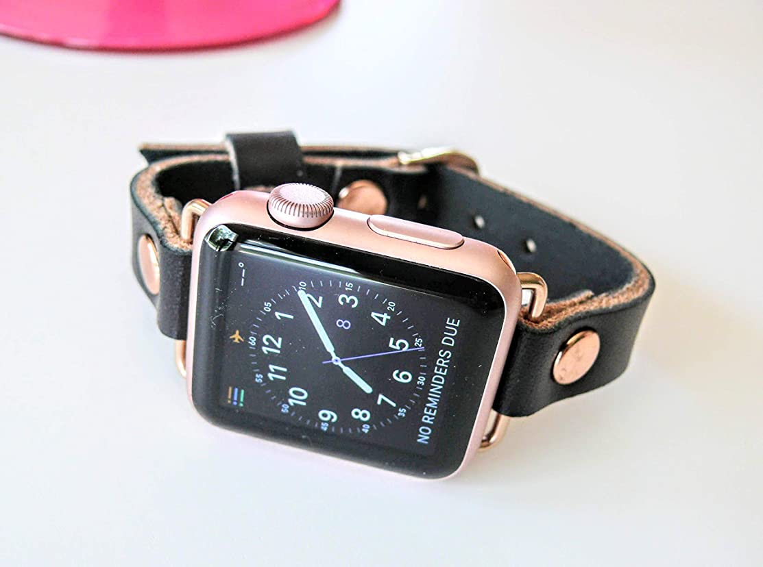 Black Leather Apple Watch band, Single Wrap Black band, 38mm leather watch band, Apple watch strap, iwatch band, apple watch 2 leather band