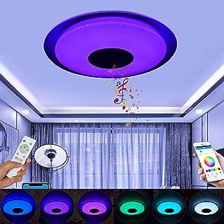 36W LED Luz de Techo WiFi RGB Inteligente Bluetooth Musica Altavoz Cambio de Color Dormitorio Luces Plafón con Control Remoto y Lampara Colores Brillo Ajustable Compatible con Alexa, Google Assistant