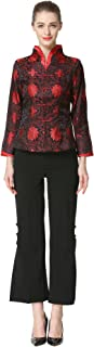 Bitablue Women's Red Flowers of Rich and Honor Chinese Brocade Jacket
