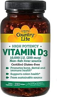 Vitamin D3 10000 IU Country Life 200 Softgel