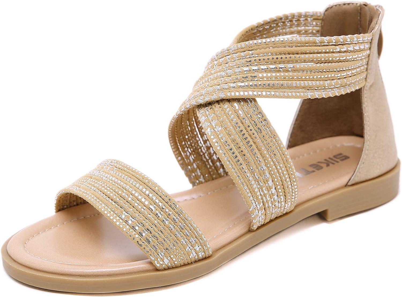 Just shoes Women's Gladiator Flat Sandals Summer Comfort Criss-Cross Elastic Strap shoes