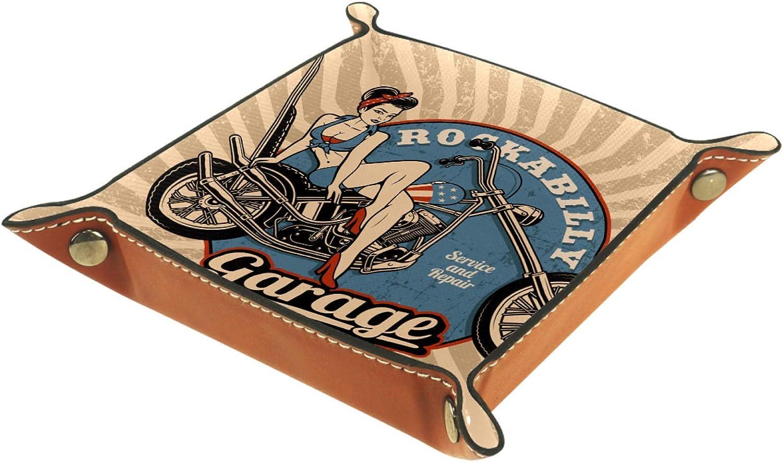 W/ürfel Tray Folding Square Holder Kommode Organizer Platte f/ür Wechsel M/ünzschl/üssel Vintage Rockabilly Garage Motorrad Sch/önheit Leder Valet Tray